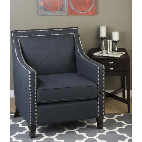 jofran upholstered accent indigo luca club chairs in blue