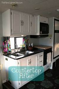 updating rv counters with giani granite countertop paint With kitchen colors with white cabinets with happy camper sticker