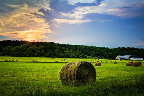 farm sunset hdr  beautiful sunset scene  central