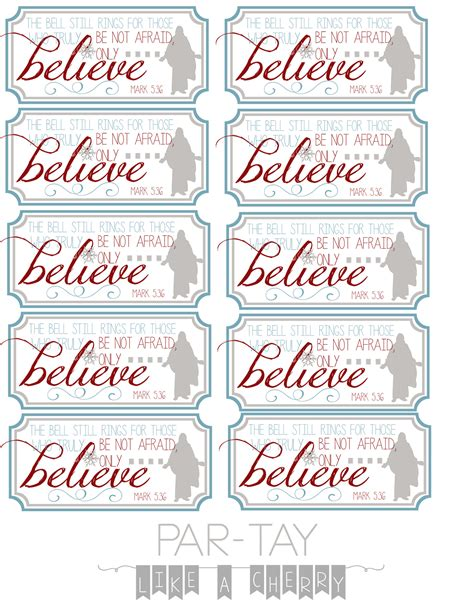 polar express bell tags party   cherry