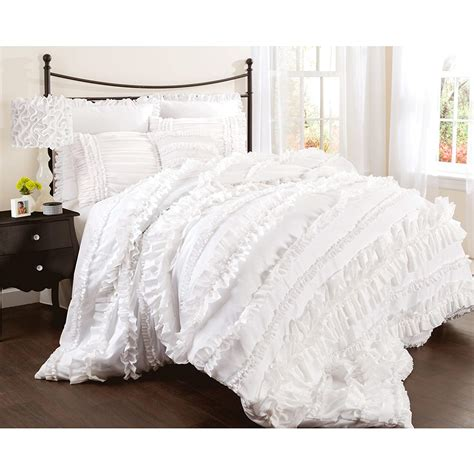 white ruffle comforter lovely white bedding sets webnuggetz