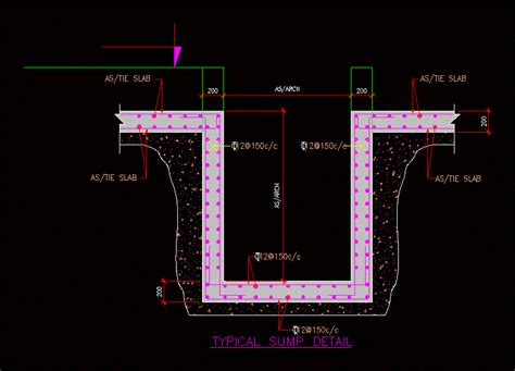 typical sump detail dwg detail  autocad designs cad