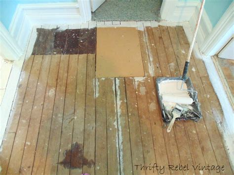 floor ls diy painting a wood floor and a faux fix thrifty rebel vintage