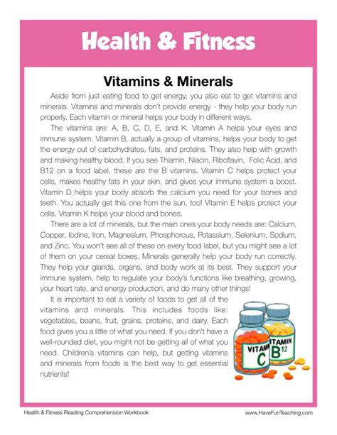 reading comprehension worksheet vitamins minerals