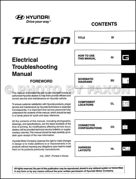 Hyundai Tucson Electrical Troubleshooting Manual Original