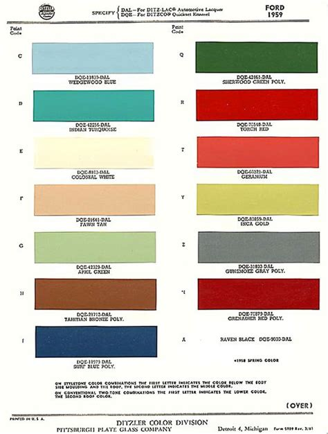 a 1959 ford exterior paint chip color chart 59 ford exterior paint color