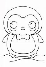 Penguin Coloring Pages Printable Animals Kawaii Categories sketch template