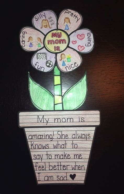 mothers day activity flower writing craft mothers