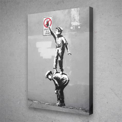 Banksy Graffiti Is A Crime Canvas Pop Culture Wall Art