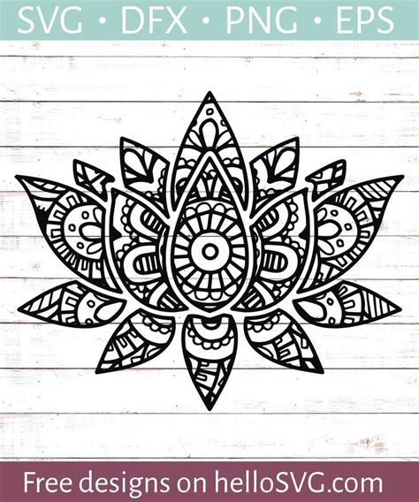 Compatible with cameo silhouette, cricut and other major cutting machines!perfect thank you for visiting us and download our freebies! Mandala Style Lotus Flower SVG - Free SVG files | HelloSVG ...