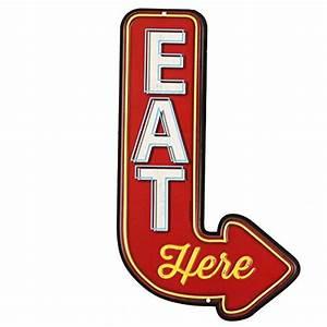 Open Road Brands 90151356 Die Cut Embossed Tin Sign, Eat