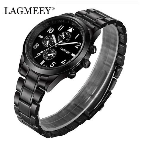 Lagmeey Famous Brand Men Quartz Watch Black Metal Band