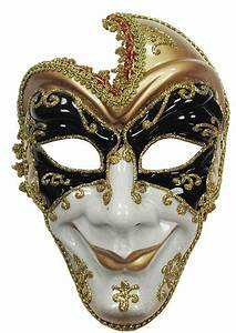 BLACK GOLD & WHITE FULL FACE MENS VENETIAN STYLE MASK ...