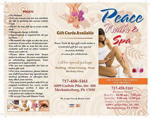Peace nails spa brochure 1 from peace nail in mechanicsburg pa 17050 for Nail salon brochure