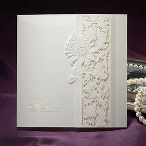 pure ivory lace cut out folded pearl paper wedding With paper fasteners wedding invitations