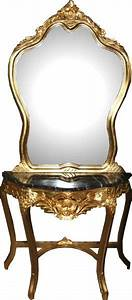 Casa Padrino Barock Spiegelkonsole Mit Marmorplatte Gold