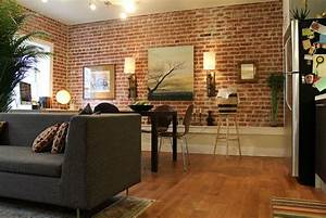 Exposed brick walls good or bad experiences for Brick wall living room design
