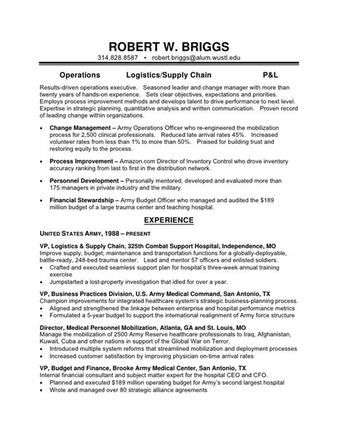 Army Reserve Resume Exle by Robert Briggs Resume