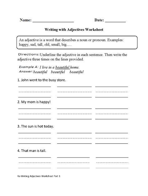 adjectives worksheet   grade diy worksheet