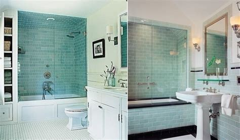Aqua Subway Tile Bathroom  Bathroom Decor Ideas