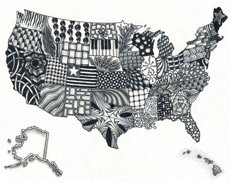 united states map zentangle art art ideas pinterest united states map geography  cool
