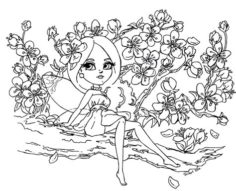Japanese Cherry Blossom Tree Drawing Sketch Coloring Page