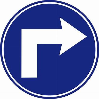 Turn Right Ahead Mandatory Road Svg Signs