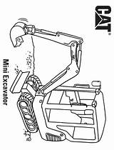 Excavator Coloring Pages Mini Cat A4 sketch template