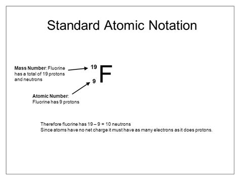 Number Of Protons In Fluorine by Standard Atomic Notation Ppt