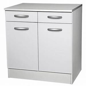 meuble de cuisine bas 2 portes 2 tiroirs blanc h86x With porte de douche coulissante avec meuble salle de bain 60 cm brico depot