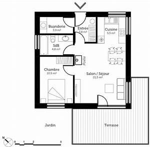 Plan Maison U : plan maison 50 m avec 1 chambre ooreka ~ Melissatoandfro.com Idées de Décoration