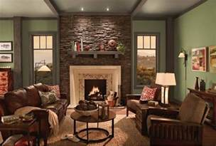 Paint Colors For A Rustic Living Room by Olive Green Paint With Stone Accent Wall Cream