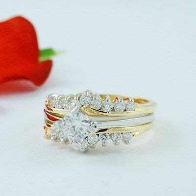 1 carat round gold ep wedding engagement ring set size 5 6