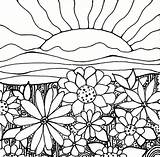 Coloring Sunset Adult Sunrise Sun Flowers Flower Sheets Printables Papers Zentangle Cool Downloadable sketch template