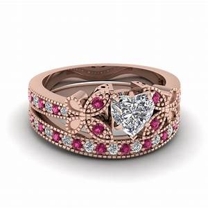 rose gold heart white diamond engagement wedding ring with With pink sapphire wedding ring sets