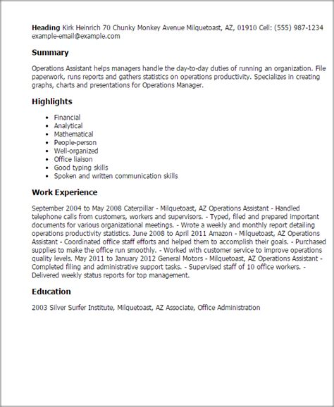 Barback Resume by 1 Operations Assistant Resume Templates Try Them Now