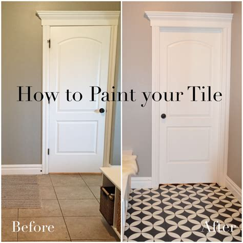 Painting Tile Floors In Bathroom by Painted Tile Tutorial Chalk Paint How To Black White