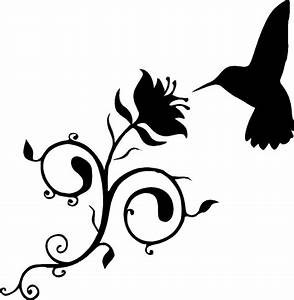 Humming Bird with Vine flower silhouette wall vinyl decal