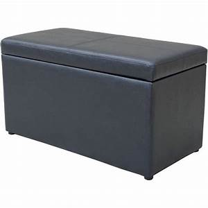 Ottoman leather hinged storage container coffee table foot for Foot storage ottoman