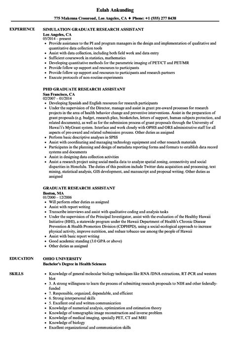 Research Assistant Resume by Graduate Research Assistant Resume Sles Velvet