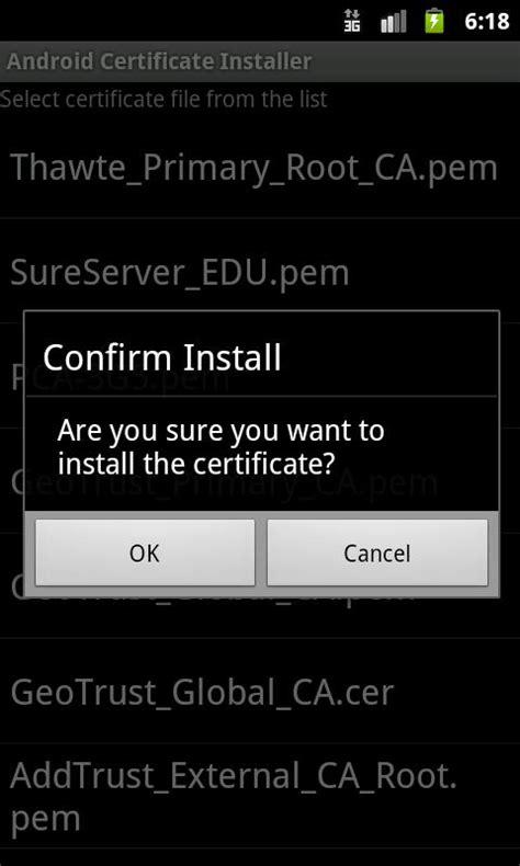 gratis android certificate installer gratis