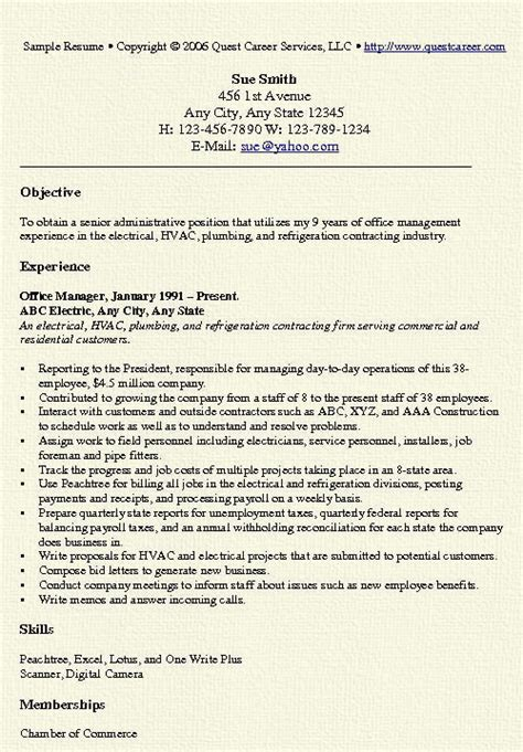office manager resume exle free professional document