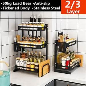 2, 3, Tier, Spice, Rack, Freestanding, Organizer, Shelf, For, Kitchen, Countertop, Cabinet, Pantry, Bathroom