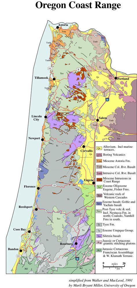 Geologic Map Of Oregon Coast Range Geology Pics