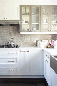 white kitchen cabinets with gray framed glass doors With kitchen colors with white cabinets with framed keys wall art
