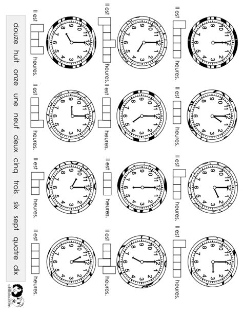 time worksheet french french spanish worksheets