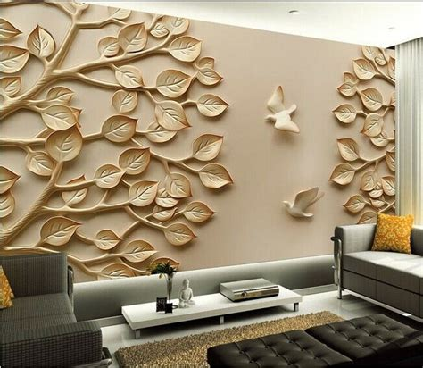 wallpaper mural leaves tree bird wall paper background