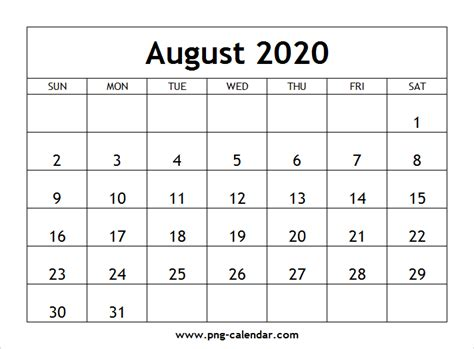 blank august calendar printable png calendar template