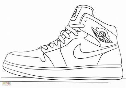 Nike Coloring Drawing Jordan Air Sneakers Jordans