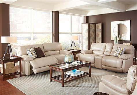 Cindy Crawford Home Auburn Hills Taupe Leather 7 Pc